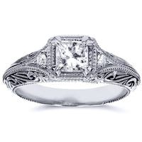 Annello by Kobelli 14k White Gold 5/8ct TDW Diamond Antique Filigree Engagement Ring