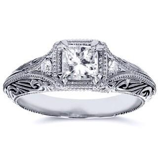 Annello by Kobelli 14k White Gold 5/8ct TDW Diamond Antique Filigree Engagement Ring