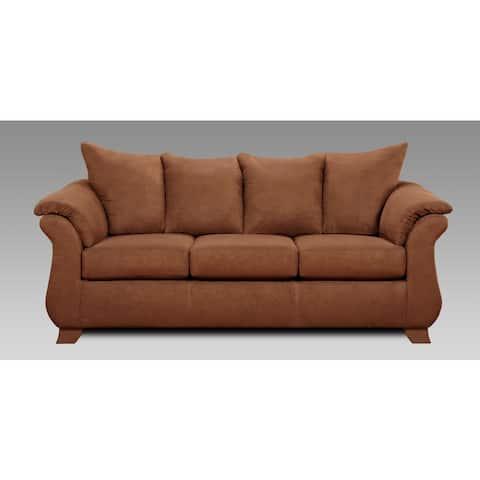 Aruba Microfiber Pillow Back Sofa, Chocolate