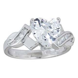 Decadence Sterling Silver Micropave Heart-cut Cubic Zirconia Ring