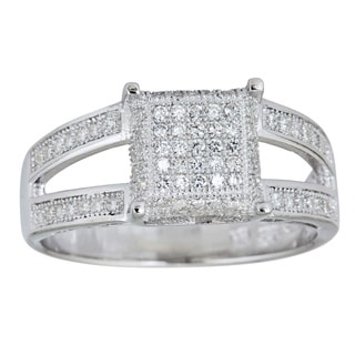Decadence Sterling Silver Micropave Round Cubic Zirconia Ring