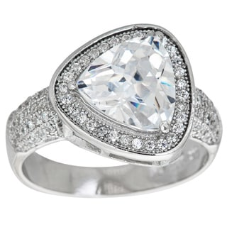 Decadence Stlering Silver Micropave Trillion-cut Cubic Zirconia Halo Ring
