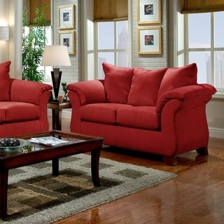 Sensations Microfiber Pillow Back Loveseat, Red