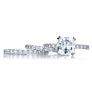 Sterling Silver Cushion Cut CZ Wedding Ring Trio Set