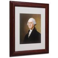 Gilbert Stuart 'George Washington 1821' White Matte, Wood Framed Wall Art