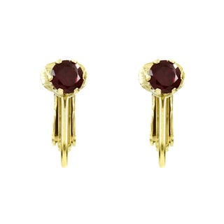Goldplated Cubic Zirconia Imitation Birthstone Clip-On Earrings