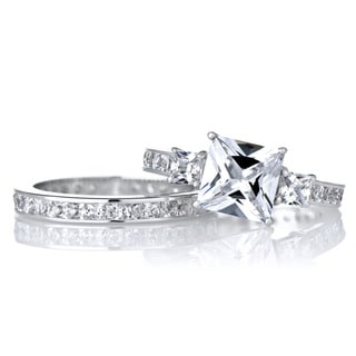 Sterling Silver Princess Cut CZ Engagement Ring Set