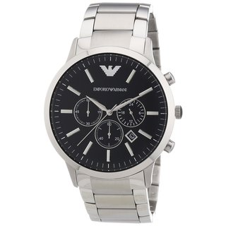 Emporio Armani Men's Sportivo Chronograph Black Dial Stainless Steel Bracelet Watch AR2460
