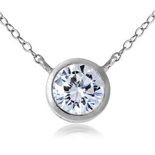 ICZ Stonez Sterling Silver Cubic Zirconia Bezel-Set Round Necklace