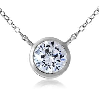 ICZ Stonez Sterling Silver Bezel-Set Round Cubic Zirconia Pendant Necklace|https://ak1.ostkcdn.com/images/products/10436953/P17534187.jpg?impolicy=medium