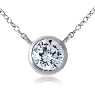 ICZ Stonez Sterling Silver Bezel-Set Round Cubic Zirconia Pendant Necklace