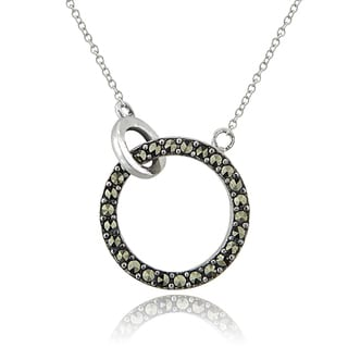 Glitzy Rocks Sterling Silver Marcasite Circle Necklace