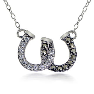 Glitzy Rocks Sterling Silver Marcasite and Cubic Zirconia Horseshoe Necklace