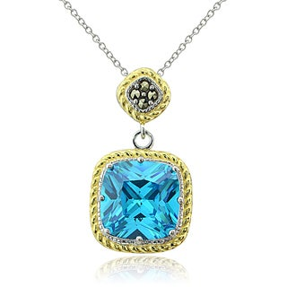 Glitzk Rocks Sterling Silver Two-Tone Simulated Aquamarine and Marcasite Necklace