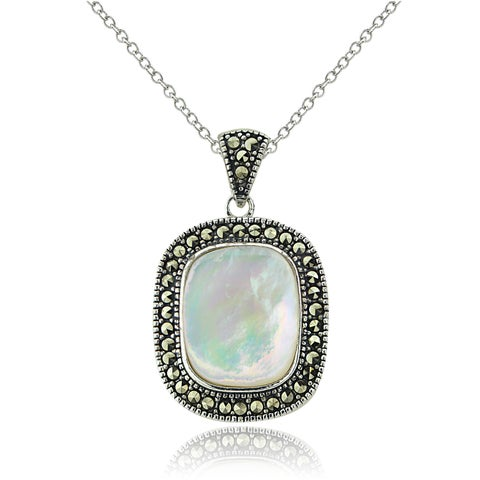 Glitzk Rocks Sterling Silver Mother of Pearl and Marcasite Necklace