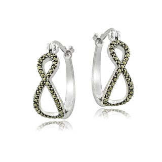 Glitzy Rocks Sterling Silver Marcasite Infinity Hoop Earrings