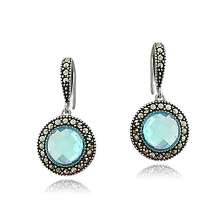 Glitzy Rocks Sterling Silver Simulated Aquamarine and Marcasite Round Drop Earrings