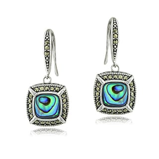 Glitzy Rocks Sterling Silver Abalone and Marcasite Cushion Dangle Earrings