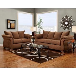 Aruba Microfiber Pillow Back Sofa and Loveseat Set, Chocolate