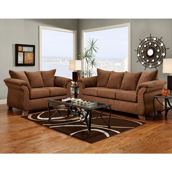 Aruba microfiber pillow back sofa and loveseat set chocolate free