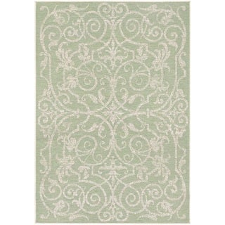 Couristan Monaco Summer Quay Ivory/ Light Green Area Rug (5'3 x 7'6)