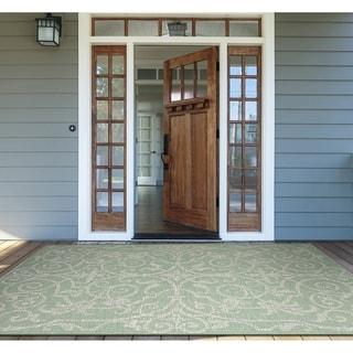 """Samantha Scroll Green Indoor/Outdoor Area Rug - 5'10"""" x 9'2"""""""