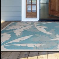 "Samantha Bal Harbor Ivory-Turquoise Indoor/Outdoor Area Rug - 5'3"" x 7'6"""