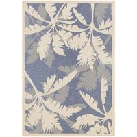 Couristan Monaco Coastal Floral/Ivory-Sapphire Indoor/Outdoor Area Rug - 5'3 x 7'6