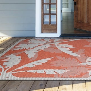 "Samantha Bal Harbor Ivory-Orange Indoor/Outdoor Area Rug - 5'10"" x 9'2"""
