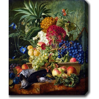 Wybrand Hendriks 'Fruit, Flowers and Dead Birds' Oil on Canvas Art