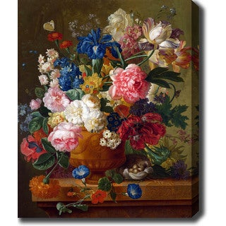 Paulus Theodorus van Brussel 'Flowers in a Vase' Oil on Canvas Art