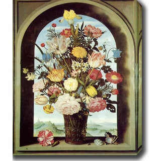 Ambrosius Bosschaert the Elder 'Bouquet in an Arched Window' Oil on Canvas Art