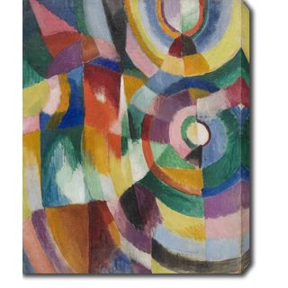 Abstract Color Block of Circles I' Oil on Canvas Art
