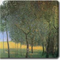Gustav Klimt 'Fruit Trees' Oil on Canvas Art - Multi