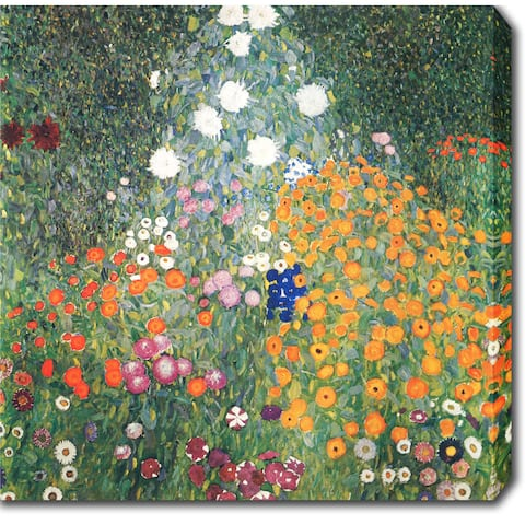 Gustav Klimt 'Flower Garden' Oil on Canvas Art - Multi