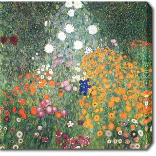 Gustav Klimt 'Flower Garden' Oil on Canvas Art - Multi