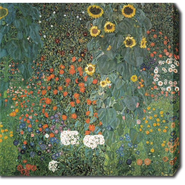 Beau Gustav Klimt U0026#x27;Farm Garden With Sunflowersu0026#x27; Oil On Canvas