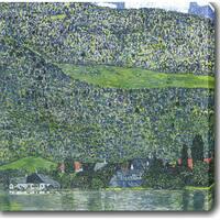 Gustav Klimt 'Lake Attersee' Oil on Canvas Art - Multi