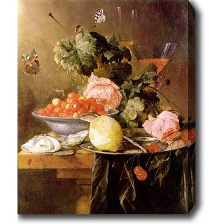 Jan Davidsz de Heem 'Still Life with Fruit, Flowers, and Oysters' Oil on Canvas Art