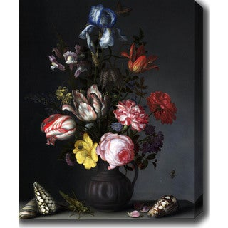 Balthasar van der Ast 'Still Life with Flowers, Shells and Insects' Oil on Canvas Art