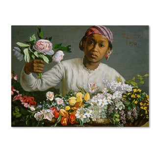 Jean Frederic Bazille 'Young Woman with Peonies' Canvas Art