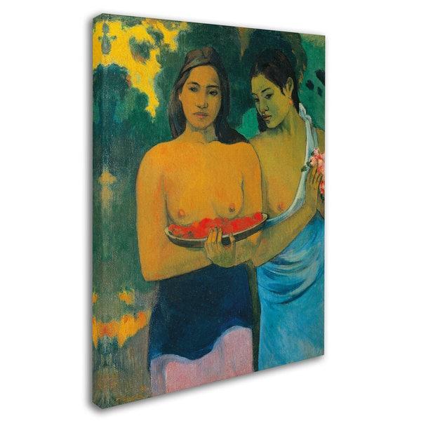 Tahitians on Beach by Paul Gauguin Giclee Fine ArtPrint Reproduction on Canvas