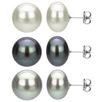DaVonna 3 pairs Sterling Silver 11-12mm White Black and Grey Freshwater Pearl Stud Earring Set