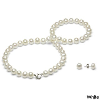 DaVonna Sterling Silver 7-8mm Freshwater Pearl Necklace and Earring Jewelry Set (2 options available)