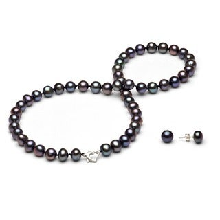 DaVonna Sterling Silver Freshwater Pearl Necklace and Earring Jewelry Set (7-8mm)