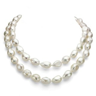 DaVonna White Baroque Freshwater Pearl 36 inch Endless Necklace (11-12mm)