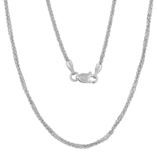Fremada 14k White Gold 1.2-mm High Polish Square Wheat Chain Necklace (18 - 24 inches)