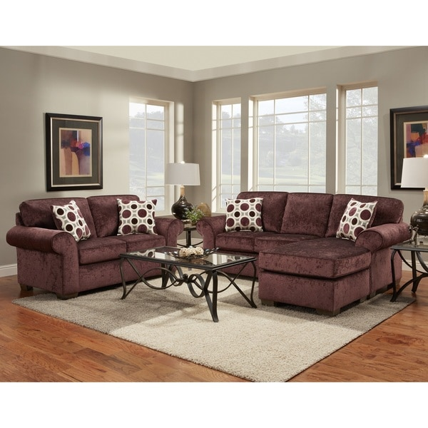 Fabric Sectional Sofa and Loveseat Set with Pillows, Prism Elderberry