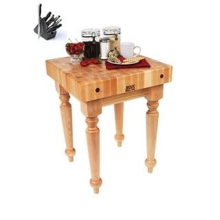 John Boos SARB1-M Saratoga Farm Block 24 x 24 Table with Casters and Henckels 13-piece Knife Block Set
