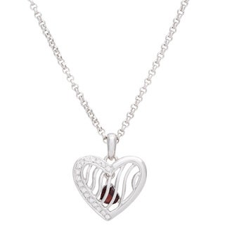 Elan Sterling Silver 1/7ct TDW Diamond and Garnet Pendant